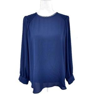 Ann Taylor Large Navy Blue Blouse